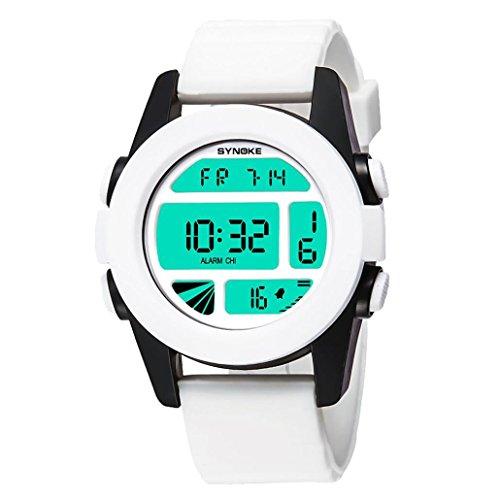 Damenuhr Herren Mädchen Analog Digital Armbanduhr Sportuhr Wasserdichte Militär Uhr Wecker Datum Alarm Watch LED für Herren Uhren LANSKIRT (Weiß) -