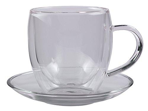 Feelino Bullini edle doppelwandige 250 ml Thermotasse mit Untersetzer, edle Glas-Teetasse/Kaffeetasse mit Schwebeeffekt, Henkel und Untersetzer im Geschenkkarton ...