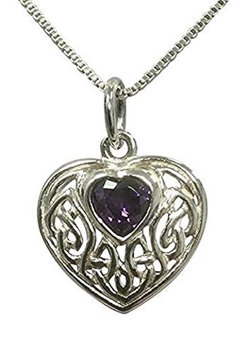Sterling Silber keltische Knoten Herz Geburtsstein Halskette–Amethyst Zirkonia–Februar