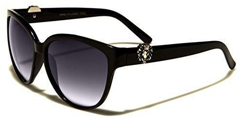 Kleo Bouclier rectangle à la mode pour Femmes Lunettes de soleil sport complet UV400 Protection GRATUIT vibrant Hutt poche inclus - Noir & Bleu, one size