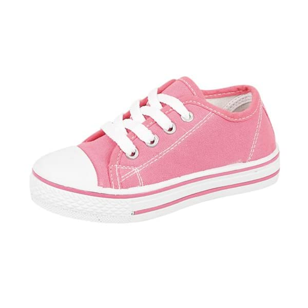 C4-Infants Lace Up Canvas Pump Shoes With White Laces - 27 (UK-9) Hot Pink