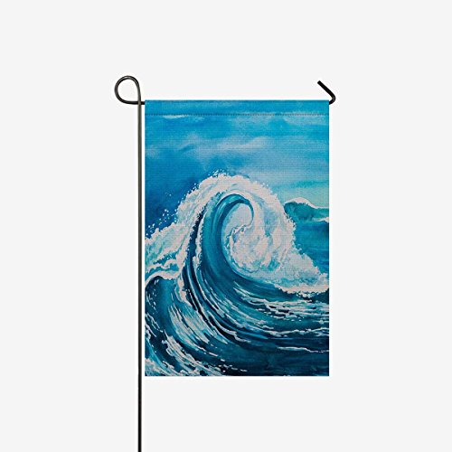 InterestPrint Blau Surfen Welle in Ocean Sea Garden Flagge Deko für Haus und Garten Dekorationen, House Banner 30,5 x 45,7 cm (Ohne Fahnenstange) 12 x 18 Sort 8