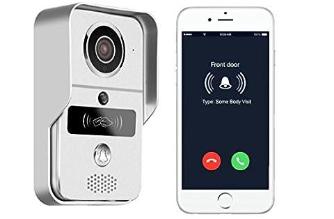 SMART Sonnette interphone Caméra IP Caméra de sécurité avec télécommande + Cartes RFID + Remote Porte déverrouillage Fonction Prend en charge iOS Android et Windows smartphones voir qui est à votre porte à partir de n'importe où dans le monde à l'aide de votre téléphone intelligent EU vendeur