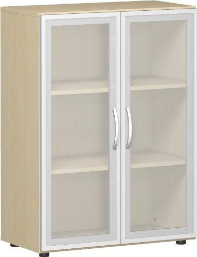 Gera Möbel B x T x H 800 x 420 x 1104 mm, 3 OH, 2 Böden, Glastüren, Justierfüße Büro-Flügeltürenschrank Holz ahorn 60 x 43 x 120 cm -