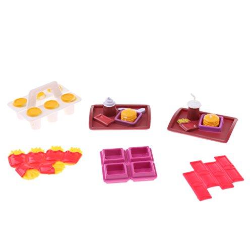 Gazechimp Puppenhaus Puppenstube Küchen Puppen Zubehör für 1/6 Barbie Puppe - Lebensmittel, 6 pcs