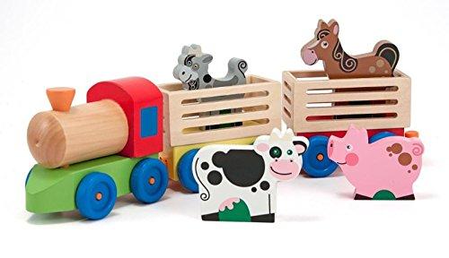 Lalia Holzeisenbahn mit Tieren, 6-teilig, bunt Bauernhof Holzspielzeug, Transporter Tiere, Kuh, Schwein, Pferd und Hahn, Zug, Eisenbahn Geschenk für Kleinkinder Kinder Spielzeug
