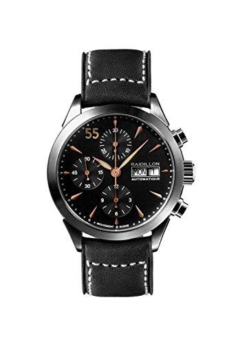 raidillon Timeless–Reloj automático para hombre con cronógrafo y negro correa de piel 38-cat-048