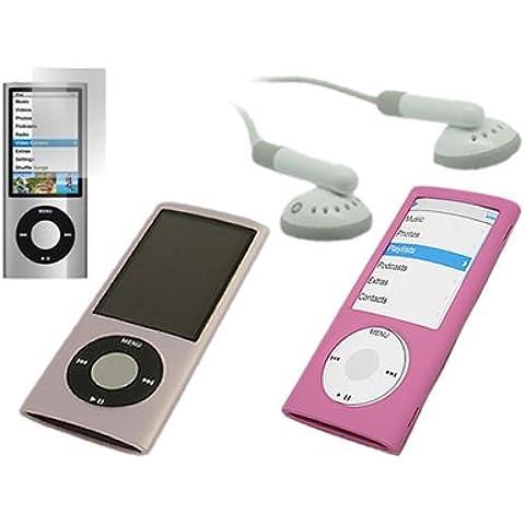 iTALKonline Apple iPod Nano 5G (5th Generation Video) Rosa 4 in 1 regalo Accessory Pack caso ibrido copertura dura, silicone morbido, protezione dello schermo LCD, 3,5 Bianco millimetri cuffie stereo