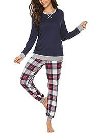 Schlafanzug Damen lang Winter Pyjama Set Zweiteiliger Sleepwear Langarm nachtwäsche lang Hausanzug mit Karierte Hose Herbst Grau Blau Rot für Frauen S M L XL XXL