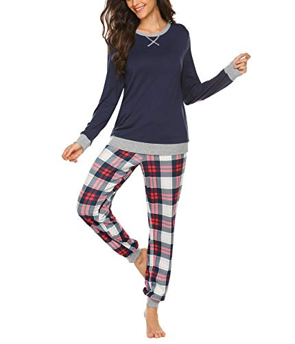 Schlafanzug Damen Lang Winter Pyjama Set Zweiteiliger Sleepwear Langarm Nachtwäsche Lang Hausanzug mit Karierte Hose Herbst Blau für Frauen S