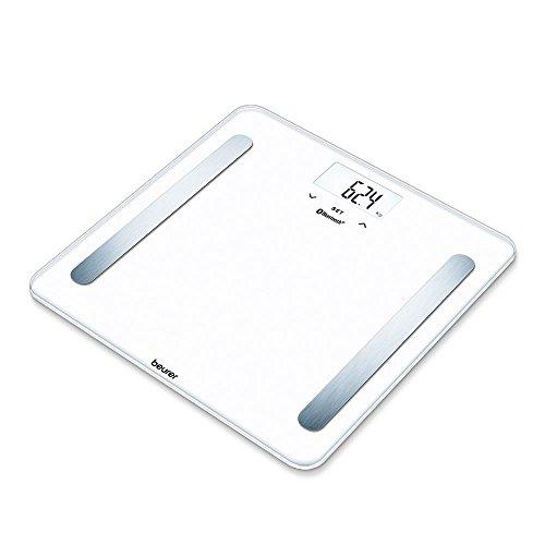 Beurer BF 600 digitale Personenwaage, mit App, Gewichtsanalyse und Messung von Körperfett, Muskelanteil, Knochenmasse, Wasseranteil, weiß