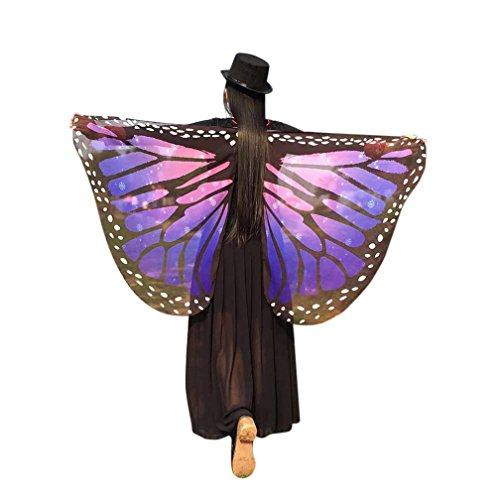 tterlings Kostüm, Frauen 145*65CM Weiche Gewebe Schmetterlings Flügel Schal feenhafte Damen Nymphe Pixie Kostüm Halloween Partei Cosplay Accessoire (Violett 4) (Violett Halloween-kostüm)