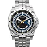 Bulova Precisionist Men's Quartz Watch with Blue Dial Chronograph Display and Silver Stainless Steel Bracelet 96G131
