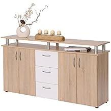 AVANTI TRENDSTORE - Cassettiera in imitazione di quercia Sonoma/bianco, ca. 155x84x35cm