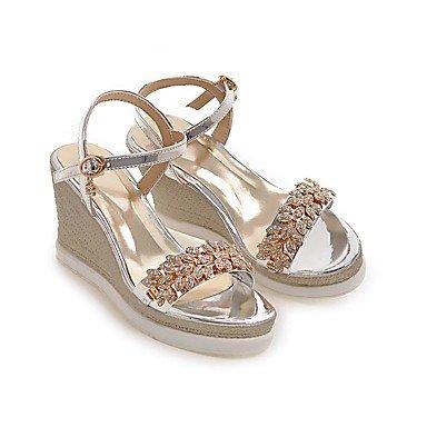 LittleDevil Damen-Sandalen-Hochzeit Büro Kleid-PU-Keilabsatz-Club-Schuhe-Gold Silber Grau Rosa Silber