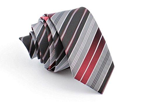 ADAMANT® Designer Krawatte, schmal, verschiedene Farben - TOPQUALITÄT - Moderne uni Krawatten für Business und Alltag (Grau Streifen)