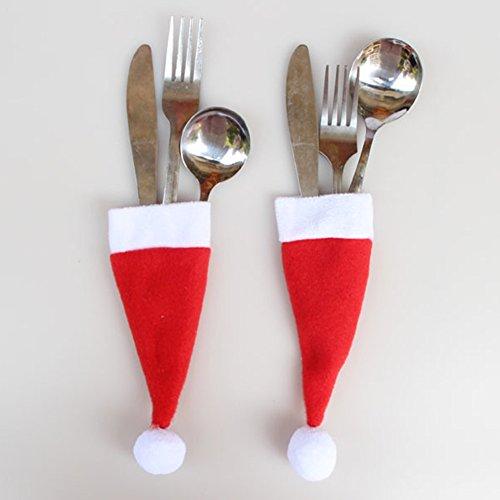 Coscelia 8pc Sacchetto Borsetta per Forchetta/Coltello/Cucchiaio Cappelli Natalizi Natale Decorazione Casa/Tavola