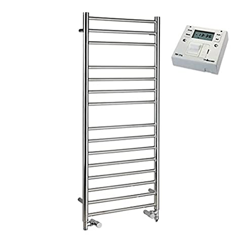 Braddan (SBBPDF-FST) Stainless Steel Dual Fuel Electric Heated Ladder Towel Rail, Element, Valves and Fused Spur Timer. A Polished Designer Ladder Bathroom Warmer Rack with High Heat Output Crossbars, 1600 x 400