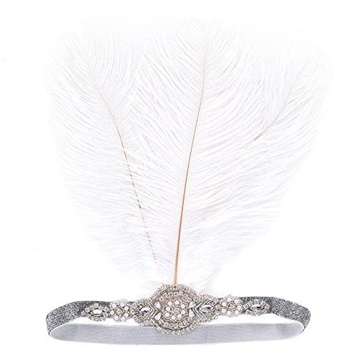 1920s Damen Feder Stirnband mit weiß Feder+Straßsteine Deko 20er Jahre Damen Kopfschmuck Accessoires Stirnbänder Great Gatsby Restro-Stil Kostüm Accessoires für Party Tanzabend Geschenk