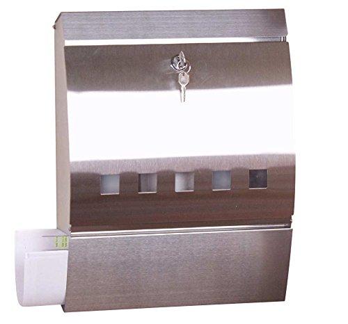 Mendler Edelstahl-Briefkasten H45, Postkasten Mailbox Zeitungsfach, 40x31x10cm
