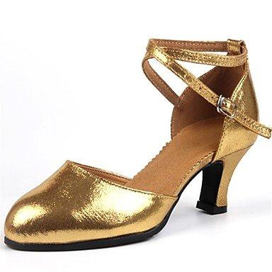 Silence @ Chaussures de danse pour femme en similicuir en similicuir Latin talons Talon cubain professionnel Noir/rouge/argenté/doré Red