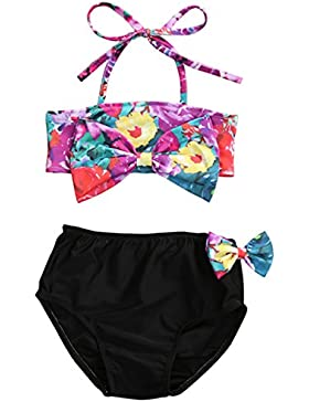 Bebé Niña de Ropa de Baño de Impresión de Floral con Arco y Cabestro Traje de Playa Conjutos