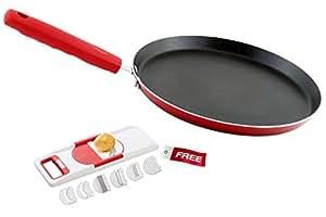 Nirlon Non-Stick Aluminium Cookware Set, 2-Pieces, Red (Dual_FT28_6 in 1_Free)