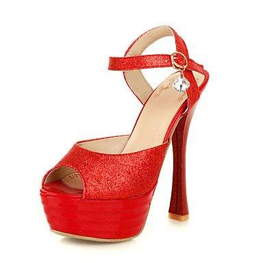 LFNLYX Donna Sandali Estate altri materiali personalizzati Casual Stiletto Heel Sequin Red Silver Gold Red