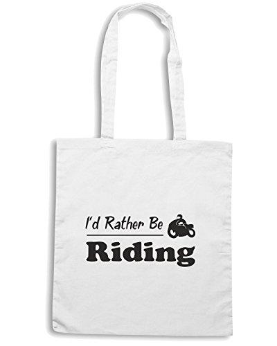 T-Shirtshock - Borsa Shopping TB0137 i d rather be riding Bianco