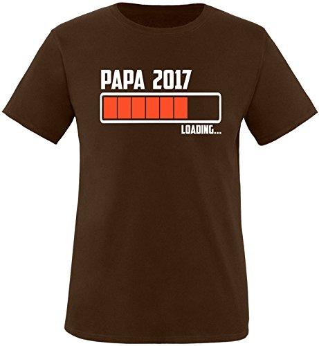 EZYshirt® Papa 2017 Herren Rundhals T-Shirt Braun/Weiss/Orange