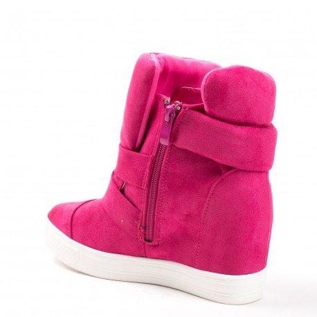 Ideal Shoes - Baskets montantes semi-compensées Vanite Fuchsia
