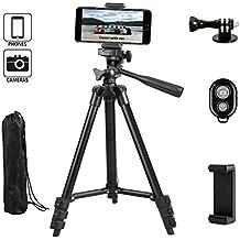 Dezuo 107cm Aluminium Dreibein Stativ Handy für Kamera, digitalen SLR Kamera, iPhone, ipad, Mobiltelefon, mit universellen Smartphone Halterung und Fernbedienung