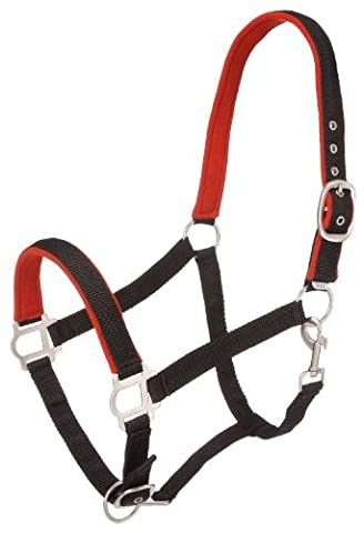Tough 1 Nylon Padded Halter with Satin Hardware, Black, Yearling by Tough 1