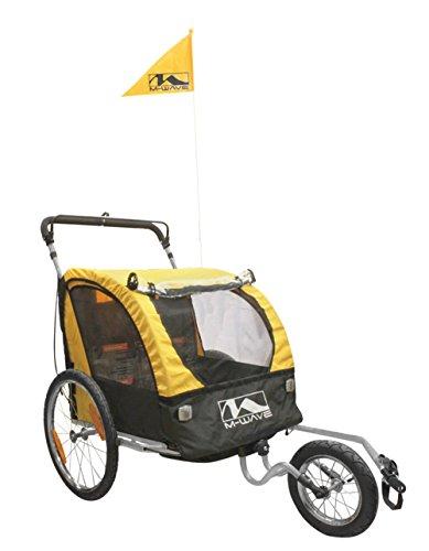 M-Wave Gepäck und Jogging Fahrradanhänger Wagen Carry All 3 In 1, gelb Doppel-kinderwagen Abnehmbare