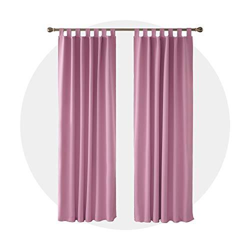 Deconovo tende camera da letto oscuranti termiche isolanti con passanti per casa moderne 132x160cm rosa 2 pannelli