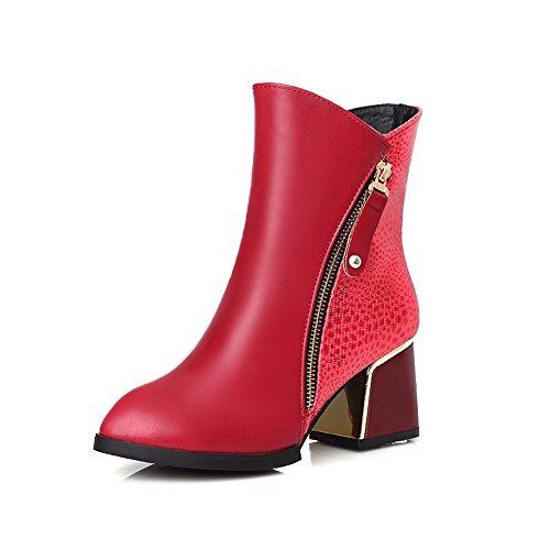 VogueZone009 Damen Reißverschluss Spitz Zehe Mittler Absatz Niedrig-Spitze Stiefel, Rot, 43