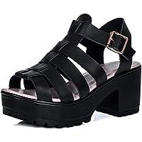 SPYLOVEBUY JAMON Zapatos Sandalias Tacón de Bloque con Plataforma Peep Toe