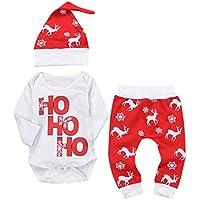 Hirolan Babykleidung Strampler Neugeboren Säugling Baby Junge Mädchen Lange Hülse Spielanzug Tops Rot Hirsch Drucken Hose Weihnachten Kappe Outfits Baumwolle Kleider Set