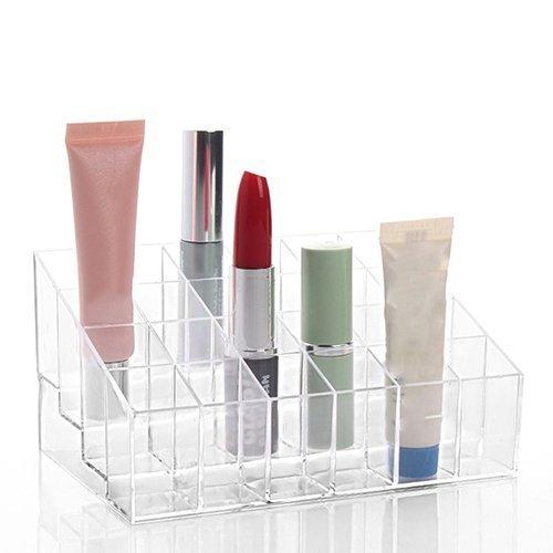 CINEEN Support Présentoir de Rouge à Lèvres à 24 Compartiments en Acrylique Transparent Organisateur de Cosmétique Maquillage