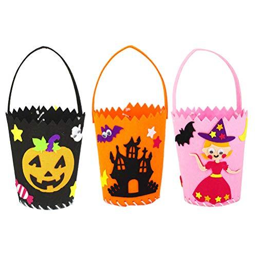 BESTOYARD Halloween Süßigkeiten Korb Halloween Cartoon Muster Süßigkeiten Taschen Hallowmas Geschenk für Kinder Party Supplies Decor DIY 3 STÜCKE
