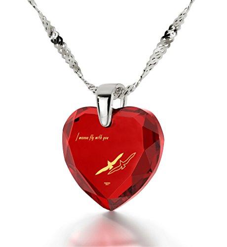 Bijoux Coeur - Pendentif Romantique en Argent 925 avec I Wanna Fly With You inscrit à l'Or 24ct sur un Zircon Cubique en Forme de Coeur, 45cm - Bijoux Nano Rouge
