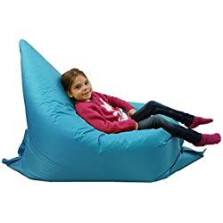 Puf para niños, tumbona para jardín, grande, de 6 posiciones. Pufs gigantes para niños para exteriores, cojín para el suelo, de color aguamarina, 100% impermeable