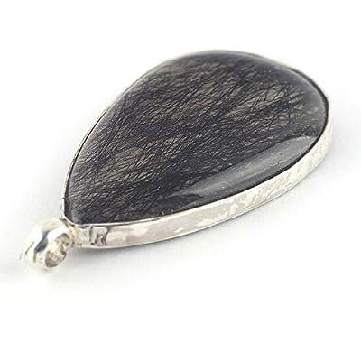 Pendentif quartz tourmaline en forme de larme et noir transparent serti d'argent 925, 33x21x6 mm