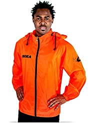 Legea Herren Regenjacke Tuono Cairo mit Kapuze K-Way Rain Jacket Wasserdicht Running Fußball Laufen Training Sport Orange