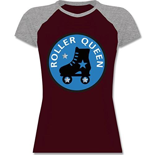 Shirtracer Vintage - Roller Queen Rollschuh - Zweifarbiges Baseballshirt/Raglan T-Shirt für Damen Burgundrot/Grau meliert