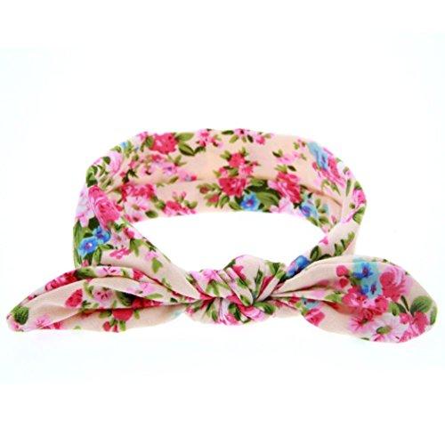 sunnymi Stirnband Baby Mädchen Viele Die Essenz Stil  Stirnbänder Festlich Taufe Fotoshootings (C*Floral Hasenohren, 18.5 * 7cm & 0-5 Jahre)