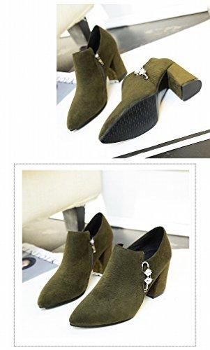XAI Stivali Invernali Donne Appuntite Stivali Ruvidi con Tacco Alto Opaco a Piedi Nudi Stivali Martin Scarpe Marea Army Green