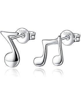 Fashmond Doppel Symbol Musik Note Creolen Ohrschmuck aus 925 Sterling Silber Für Frau Damen MädchenKindertag...