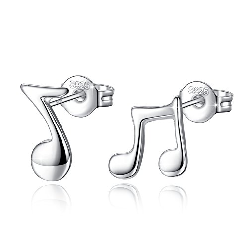 Boucles d'oreilles note de musique argent 925 Fashmond pour oreilles percées