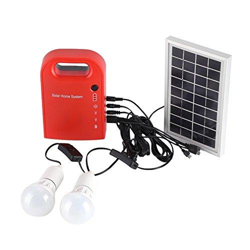Solar-Home-System, 12V Solar-Beleuchtungssystem Portable Home Outdoor Solar Energy USB-Aufladung mit 2 LED-Lampen für Innen und Außen -